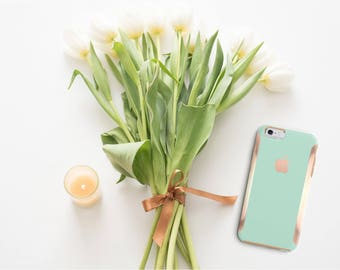 iPhone 8 Case iPhone 8 Plus Case iPhone X Paris Green Mint and Rose Gold Hard Case Otterbox Symmetry