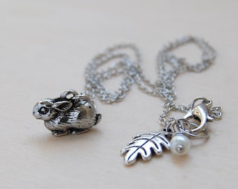 Teeny Tiny Bunny Necklace | Cute Rabbit Charm Necklace | Dark Silver Rabbit Necklace | Woodland Animal Jewelry