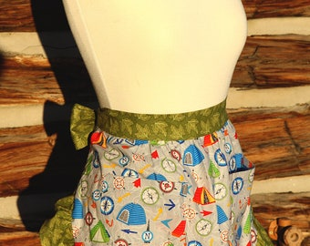 Apron Kitchen Cook Cooking Hostess Pockets Camper Camping Fun Useful Washable Green Blue Red Tents Compass, Sisters on the Fly, Ruffled