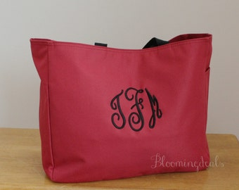 Monogrammed Tote Bag, Red Travel Tote, Personalized Bag, Christmas Gifts Under 20 Dollars