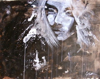 Modern portrait,black-and-white,portrait,modern art,grunge style,woman portrait,figurative painting,art,Concentrate 33,4x45,2in.(85x115cm)