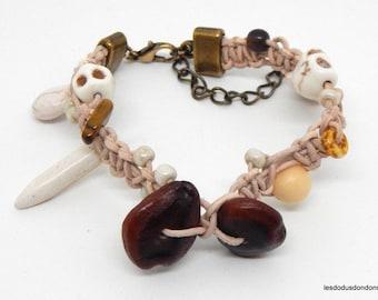Leather Bracelet, ethnic, natural stones, seeds, wood, skull, woman, man, teen, unisex