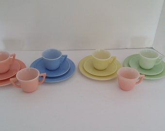 Vintage Child's Little Hostess Pastel Tea Set -- May Be Hazel Atlas
