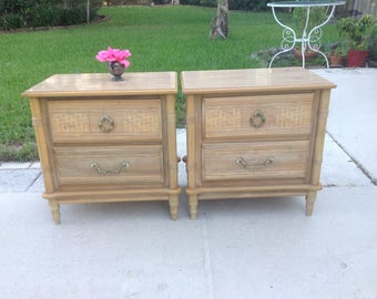 FAUX BAMBOO NIGHTSTANDS / Old Florida Faux Bamboo Night Stands With Brass  Pulls / Palm Beach