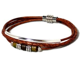 Womens leather bracelet  women bracelet brown leather bracelet multistrand bracelet tube bracelet womens gift magnetic clasp RLBM-07-07