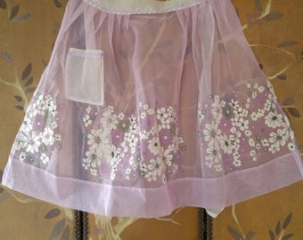 60s lilac sheer flowered apron