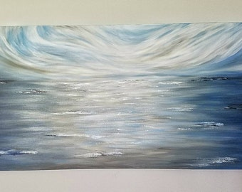 "Abstract ""Forever Sea"" Acrylic Open Ocean Seascape Waves Dark Sky 24x48 Canvas Blue-Gray-White-Black"