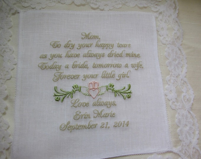 Custom Embroidered Irish Claddagh Celtic Mother of the Bride Personalized Linen Wedding Handkerchief