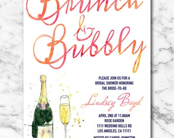 Bridal Shower Invitation, Bridal Shower Invite, Brunch and Bubbly Bridal Shower