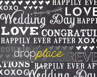 Backdrop Wedding Drops Chalkboard with Chalk Typography Photobooth Photo Background  (Multiple Sizes Available)