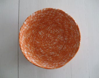 Coil Basket, Orange and White, Storage Container