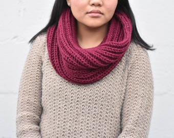 Hand Knitted Infinity Scarf, super soft, warm, one-loop chunky infinity scarf. Comes in different colors