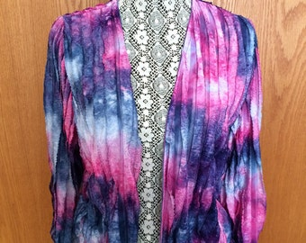90s Adi Designs Ruffle Tie Dye Crop Jacket - Festival, Boho, Hippie Glam