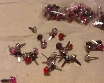 60 Mini Jewel tone Pearl Brads