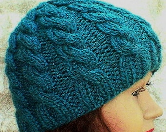 Cable knit beanie hat, teal blue hat, winter hat, toque, blue hat, mens womens knit hat, chemo cap, blue cable hat, beanie hat, hiking hat