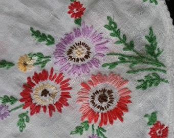 Square Dresser Scarf, Vintage Dresser Scarf, Vintage Embroidered Dresser Scarf, White Floral Embroidered Linen Tablecloth, Floral Tablecloth