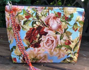 Floral roses Makeup cosmetic clutch pouch  purse bag