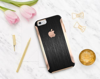 iPhone 8 Case iPhone 8 Plus Case iPhone X Brushed Black with Rose Gold Detailing  Hard Case Otterbox Symmetry