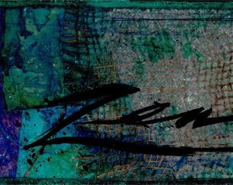 "Enso Art, Zen Circle Painting, ""The Enso of Zen Series No.mm9"" ... Original Zen Circle mixed media art painting by Kathy Morton Stanion EBSQ"