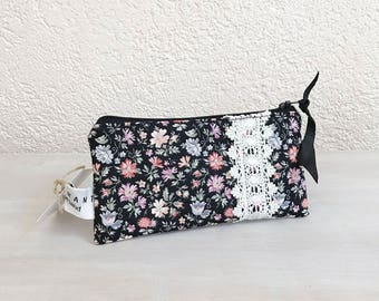 iPhone Case, iPhone Wallet, Cell Phone Fabric Case, Smartphone Pouch, Mobile Zippered Purse, Glasses Case in Petit Fleurs European Fabric