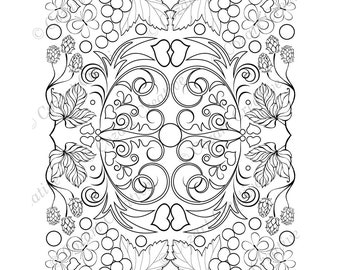 Adult coloring page, kaleidoscope, flower, butterfly, swirl, grapes, hops, stylized leaf.  Spring Flowers. PDF