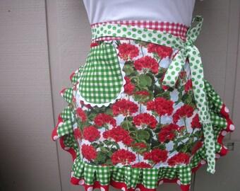 Aprons / Red Geranium Half Aprons / Handmade womens Aprons / Womens Flower Aprons / Annies Attic Aprons / Etsy Aprons / Red Flower Aprons