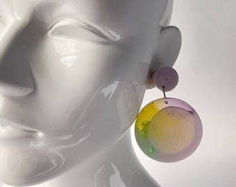 Lilac, yellow and green large disc resin earrings.