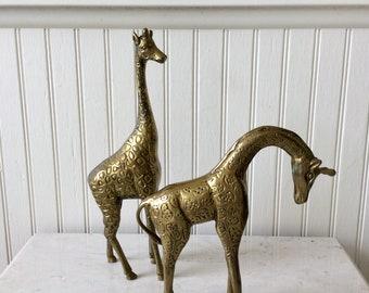 "Vintage Pair of Large Brass Giraffes, 11.5""- 8"" height Brass Figurines, Mid Century, African Animals, Safari"