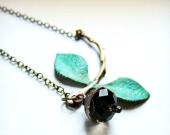 Organic stem and leaf acorn necklace, acorn charm, green vertigris leaves, branch jewelry, asymmetrical