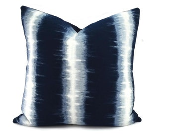 Navy & Off White Ikat Throw Pillow Cover, 16x16, Woven Navy and White Ikat Stripe Pillow