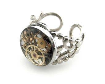 Steampunk Resin Ring  - Victorian Steampunk Ring - Clockworks Ring - Industrial Ring Filigree Ring  Adjustable Ring - Steampunk Gift Idea