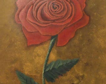 Red Rose Painting Acrylic Painting of Red Rose Red Rose Floral Painting Roses Art Flowers Painting