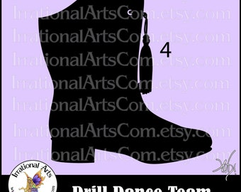 Drill Dance Team Silhouettes Pose 4 Boot - 1 eps & svg Vinyl Ready files and 1 png digital file and commercial license