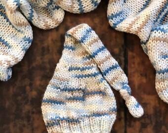 The {Little Boy Blue} Newborn Long Tailed Sleepy Cap & Knit Wrap Set