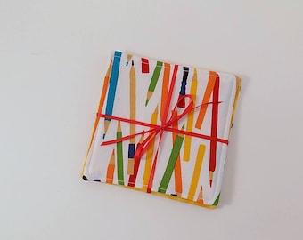 School Supplies Fabric Coaster Pair Mug Mats Set of Fabric Drink Coasters Colored Pencil Fabric Coasters
