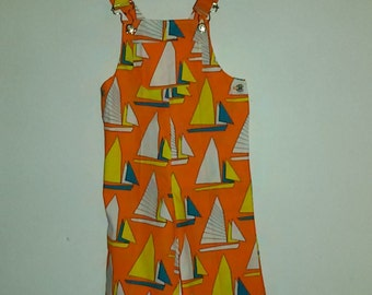Printed cotton overalls boats sailboats / french Vintage 60's 70's / size 2 years old /Stock nine