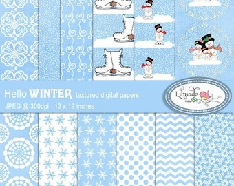50%OFF Winter digital papers, Snow digital papers,  Christmas digital papers, snowman digital papers, Christmas scrapbook papers, P197