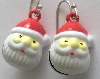 Holiday santa earrings, jingle bell santas, Father Christmas drop earrings, holiday bells earrings