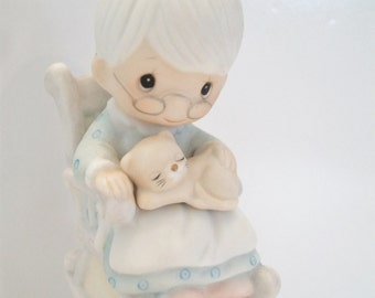 Precious Moments Grandmother Bell The Purr-Fect Grandma 1981 E-7183 Vintage Home Decor Grandparents Day Gift Collectible