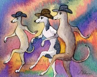 Lévrier Whippet dog impression 5 x 7 8 x 10 11x14 danse danseurs de musique country folk de peinture aquarelle Susan Alison en ligne lévrier lurcher