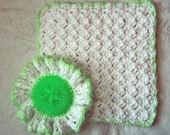 Country Kitchen Set - 2 Piece Ruffled Scrubber & Dish Cloth - White/Light Green - Crocheted Cotton Yarn - Hostess Gift - Spring Cleaning