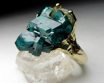 Dioptase Gold Ring art 4270 | Gorgeous Green Rare Raw Natural Stone Organic Ring Fine Jewelry