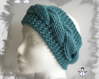 Ears headband/Headband/warmer/headband for women or teens wool winter thick warm, and soft blue green turquoise