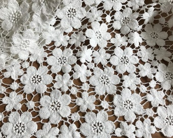 Off White Cotton Lace Fabric Charming Floral Flowers Fabric for Bridal, Girl Dress, Wedding Gowns, Home Decoration