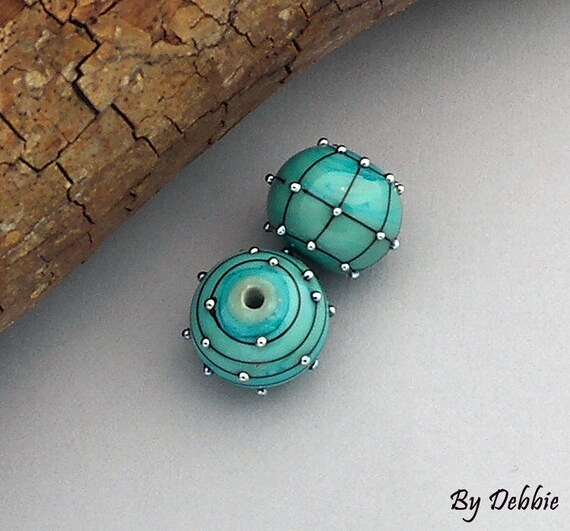 DSG Beads~Artisan Debbie Sanders Handmade Lampwork Glass Beads ~Copper Pair~ Made To Order