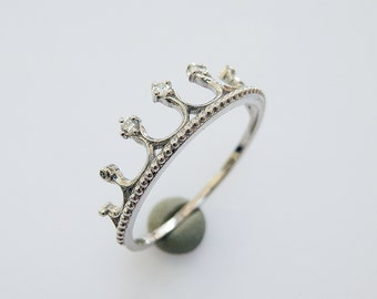 Dainty Crown Ring - Princess Crown Ring - Stacking Ring - Sterling Silver Ring - Fashion Ring - valentines gifts