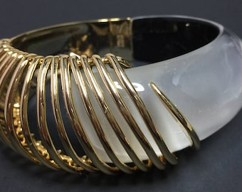 SALE!!!  ALEXIS BITTAR Coiled Hinge Bangle Bracelet 10K Gold Signature Hand Sculpted Lucite Stunning Originally 295.00