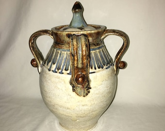 Skip Deems Ceramics Lidded Vase. Wheel thrown ceramic pottery with bright glazes.