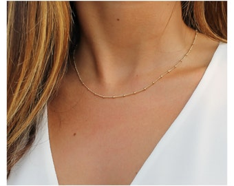 gold chain necklace • gold beaded necklace • minimalist jewelry • dainty layering necklace • satellite chain • simple jewelry • B108