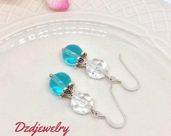 Blue Bead Earrings, Blue Earrings, Boho Earrings, Glass Earrings, Blue and Silver Earrings, Gift For Her, Bead Earrings, Bridesmaid Earrings